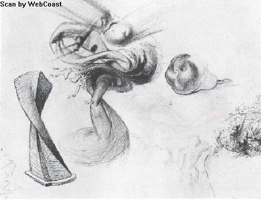 Сальвадор Дали. Компот и фрукт. 1956, карандаш, 41х53,2 см.